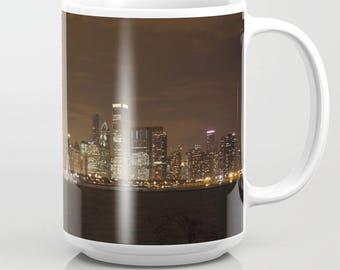 Chicago City Skyline Night Photo Mug Kitchen 15 oz.