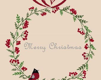 Cross stitch pattern ROBIN WREATH - christmas pillow,scandinavian,cross stitch,needlepoint,embroidery,cushion,swedish,anette eriksson,