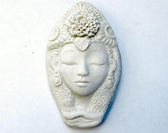 Quan Yin Face Matte Porcelain Ceramic White Tara Wall Hanging Art Object Sculpture Handmade Pottery Female Buddha