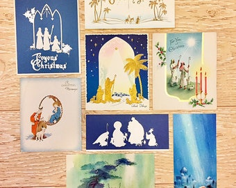 8 Vintage Christmas Shepherd Cards, Religious Christmas Cards, 1940s-1960s Christmas Shepherd Cards, Nativity Cards