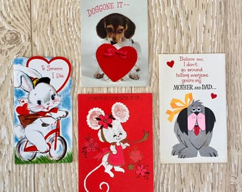 Sweet and Silly Set of Four Vintage 1960-70s Valentine Cards with Animals, Bunny, Mice, Dogs
