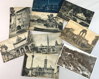Vintage Foreign Black & White POSTCARDS (9) Rome Italy Roma- Landmarks- Travel Post Card Collection- D8