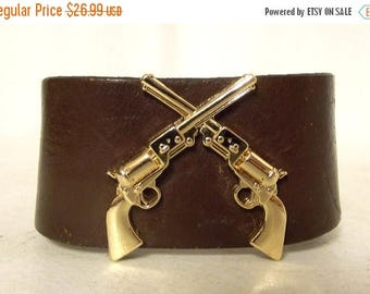 Gold Pistols Leather Cuff - Western Boho Bracelet - upcycled jewelry Hippie Guns