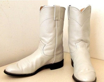 Roper style off white Justin cowboy boots size 6.5 B