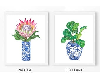 Blue & White China: Protea Poster PRINTABLE FILE, chinoiserie art print, fig plant, blue white ginger jar, wall art, home decor,oriental art