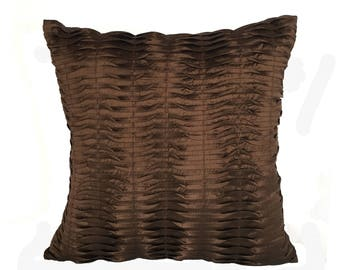 Chocolate brown dupioni silk pleated cushion cover. Decorative silk pillow. Brown pintuck pillow.  Luxury pillow cover. 16inch  throw pillow
