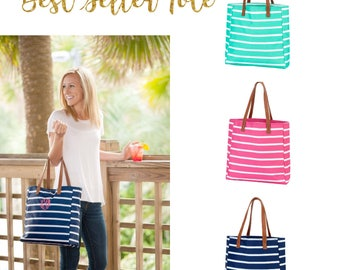 Personalized tote bag ,nautical tote bag, embroidered tote bag,  monogrammed tote bag,  bridesmaid tote bags ,striped tote bags