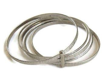 SALE Silver Tone Bangle Bracelet with 5 Bangles Vintage