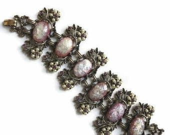 SALE Confetti Cabochons Rhinestone Link Bracelet Vintage Pink, Purple, Silver Glass and Faux Pearls