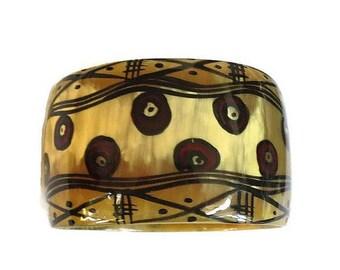 SALE Hand Painted Horn Bangle Bracelet Vintage Tribal Ethnic from Kenya