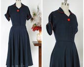 Vintage 1950s Dress - Smart Navy and Slate Blue Plaid Nubby Cotton Full Skirted Shirtwaist 50s Day Dress with Kitten Bow