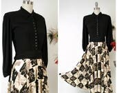 Vintage 1940s Dress - Spring 2018 Lookbook - Killer Postwar Black Rayon Crepe and Printed Rayon Jersey 40s Day Dress with Full Sleeves