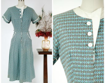 Vintage 1950s Dress - Geometric Harlequin Print Cotton Zip Front 50s Dress with Teal and Purple Cherries