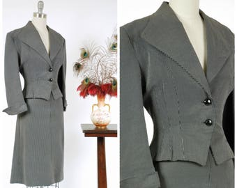 Vintage 1950s Suit - Ultra Dark Navy Blue and White Checkered with Nipped Fit and Flare Silhouette Jacket and Wide Collar