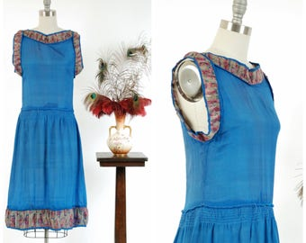 Vintage 1920s Dress - Fantastic Lapis Blue Silk Drop Waist 20s Dress with Pleated Floral Chiffon Trim