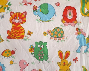 Vtg Childrens Fabric / Primary Colors / Retro Animals / Cartoon Animal fabric / 1 1/2 yards