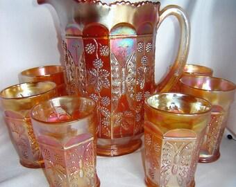 Fenton Carnival Glass Butterfly & Berries Water Set