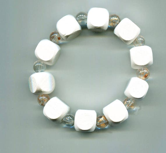 white wood bracelet glass beaded stretch bracelet clear bead chunky boho hippy gypsy handmade jewelry