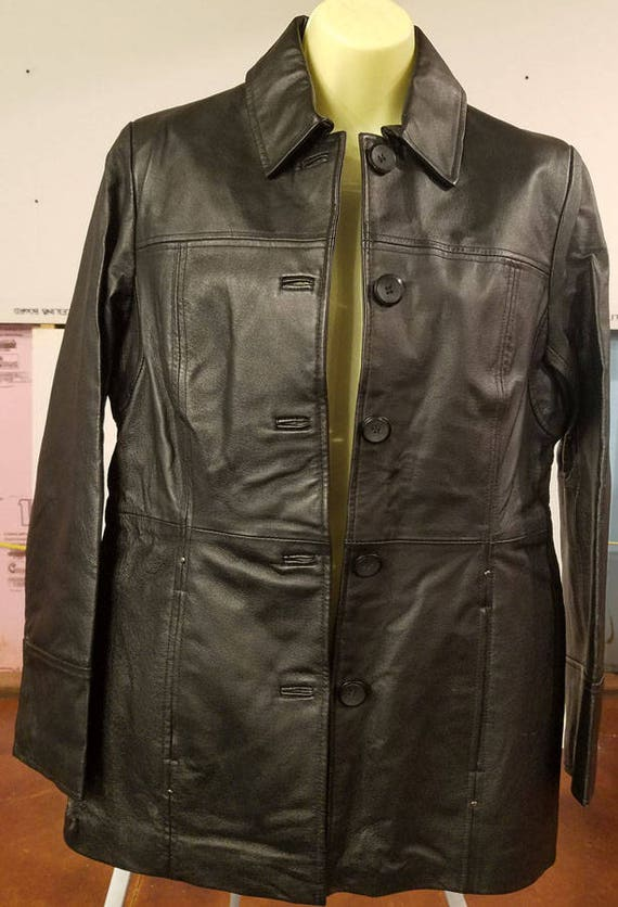 black leather button down coat leather jacket blazer Women's size small 90s clothing