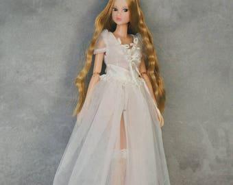 Jiajia Doll limited 2 pieces ribbon lace long ballet dress set in white for blythe momoko azone pullip dorandoran middie blyte