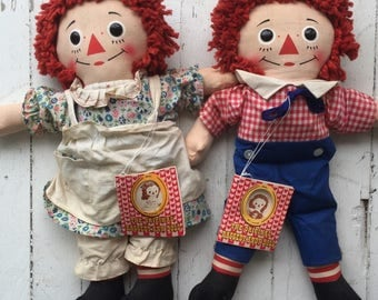 "15"" 1970s Knickerbocker Raggedy Ann & Andy Doll Set"