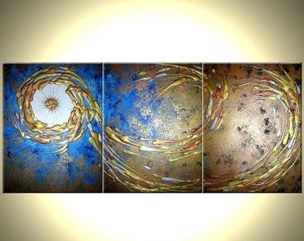 ORIGINAL Large Abstract Art, Gold Metallic Textured, Blue Night Star Painting by Lafferty - 24X54, Save 22% Off