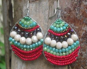 Big Beautiful Earrings/Bold Earrings/Chunky Earrings/Teardrop Earrings/Beaded Crystal Earrings/Beaded Teardrop Earrings/Beaded Boho Earrings