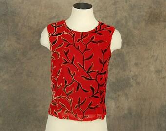 vintage 90s Burnout Velvet Shirt - 1990s Red Silk Chiffon and Velvet Blouse Sz S