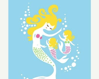 "SUMMER SALE 8X10"" mermaid mother & twin girls giclee print on fine art paper. sky blue, purple, green, pink, blonde."