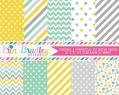 80% OFF SALE Yellow Aqua & Gray Printable Digital Paper Pack Polka Dots Stripes and Chevron Instant Download