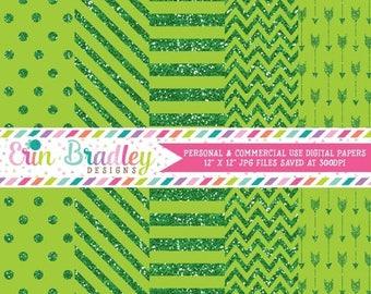50% OFF SALE Green Glitter Digital Paper Pack Stripes Polka Dots Arrows and Chevron Glitter Digital Scrapbook Paper