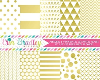 50% OFF SALE Gold Digital Paper Pack Digital Gold Foil Effect Commercial Use Scrapbook Paper Chevron Polka Dots Stripes Triangles