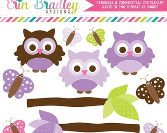 80% OFF SALE Purple Owl Clipart Clip Art Personal & Commercial Use with Butterflies and Branches