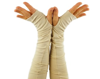 Arm Warmers in Almond Vanilla - Cotton Fingerless Gloves