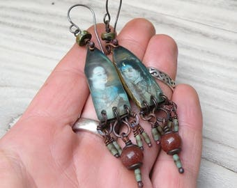 Rustic Temple of Love Earrings, Earthy Green and Rust Dangles, Handmade, Long, Lightweight, with Sterling SIlver Ear Wires