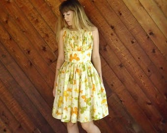 20% off SUMMER SALE. . . Yellow Floral Printed Silk Tea Dress - 50s Vintage - SMALL