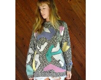 20% off SUMMER SALE. . . ESPRIT Patchwork Oversized Pullover Sweater - Vintage 80s 90s - L/Xl
