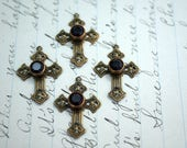 Antiqued Bronze Filigree Cross Pendant Charm with Glass Garnet Rhinestone Filigree Cross Pendant (1) JA22