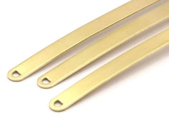 Bracelet Stamping Blank, 6 Raw Brass Bracelet Stamping Blanks With 2 D Shaped Holes ( 8x125x1mm) N433