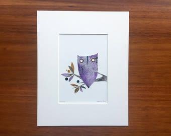 Violet The Owl, Original Cut Paper Artwork