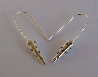 sterling silver cone shapes on long ear wires