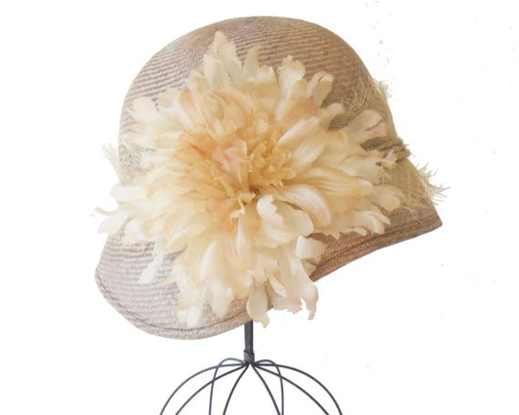 Straw Cloche Hat Women's Hat 1920s Style Taupe Cloche Hat Millinery Straw Hat Flapper Hat Great Gatsby Style Rustic Millinery Silk Flower