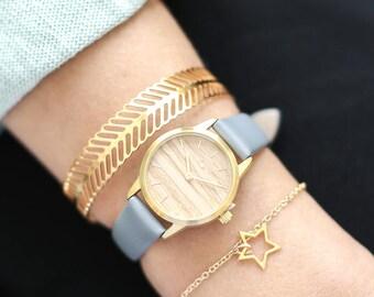 25 mm Watch in Oak and Grey, Classic Women's Wrist Watch, Wooden Wrist Watch, Grey Leather Strap, Gold Women's Watch, Gold Wrist Watch