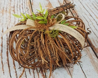 Large Rustic Twig Pumpkin Ring Bearer Pillow for your Fall Wedding
