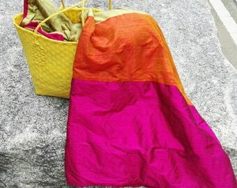 RESERVED (pk):  SPRIGHTLY silk & wool throw or wrap in fuchsia, orange, and avocado