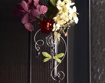 Dragonfly Mother's Day Gift  Vase Glass Rooting Vase Green Window Vase Memorial Vase Bud Vase Gift for Hostess Oil Diffuser Home Bath Decor
