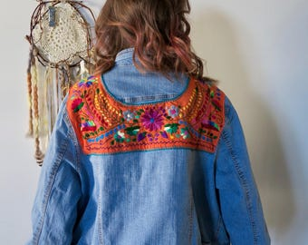 Mexican Embroidered Floral Boho Denim Jacket Coat Size 2XL Bohemian Upcycled Eco Friendly Festival
