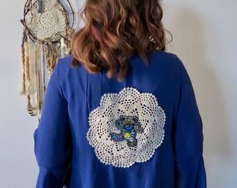 Grateful Dead Dancing Bear Crochet Bell Sleeve Top Shirt Size Small Womens Hippie Boho Festival