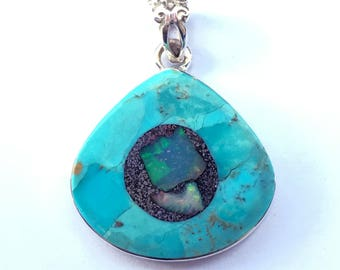 Sleeping Beauty Turquoise with Ethiopian Opal in matrix Inlay in Sterling Silver
