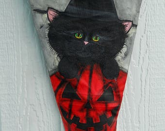 Halloween Decor-Painted Just For You...Black Cat in a WItch Hat in a Pumpkin for Halloween